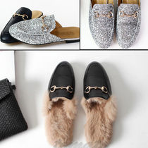 Plain Toe Casual Style Faux Fur Plain Slippers Pumps & Mules