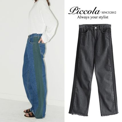 Casual Style Plain Cotton Long Jeans