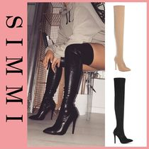 SIMMI Faux Fur Pin Heels Over-the-Knee Boots