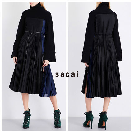 sacai Wool Flared Long Sleeves Plain Medium Elegant Style Dresses
