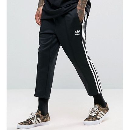 7653661fc1 adidas SUPERSTAR 2017-18AW Stripes Street Style Plain Cotton Cropped Pants