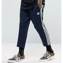 adidas SUPERSTAR Stripes Street Style Plain Cotton Cropped Pants