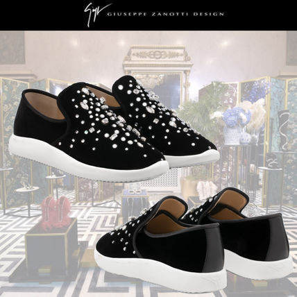 Round Toe Casual Style Velvet Plain With Jewels Flats