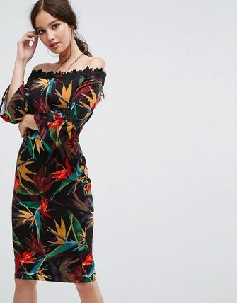 Flower Patterns Medium Party Style Puff Sleeves Dresses