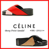 CELINE Open Toe Casual Style Blended Fabrics Bi-color Leather Shoes