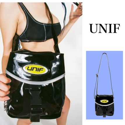 UNIF Clothing Casual Style Street Style Plain Shoulder Bags