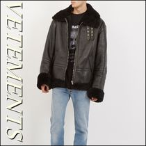 VETEMENTS Plain Leather Biker Jackets