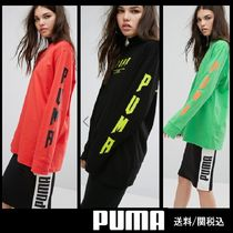 PUMA Crew Neck Casual Style Long Sleeves Cotton