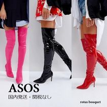 ASOS Casual Style Plain Pin Heels Over-the-Knee Boots
