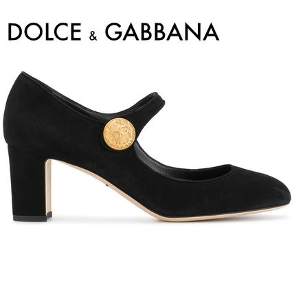 Round Toe Suede Plain Block Heels Office Style