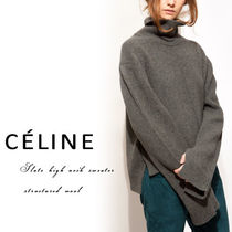 CELINE Wool Plain Medium High-Neck Oversized Sweaters