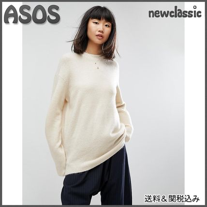 ASOS Crew Neck Long Sleeves Plain Medium Office Style Oversized