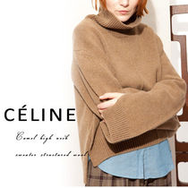 CELINE Wool Long Sleeves Plain Medium High-Neck Oversized Sweaters