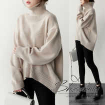 Casual Style Long Sleeves Plain Medium Oversized Sweaters