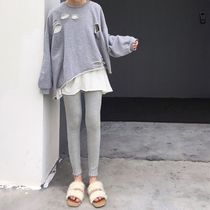 Street Style Plain Cotton Leggings Pants