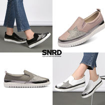 Star Rubber Sole Casual Style Faux Fur Studded Slip-On Shoes