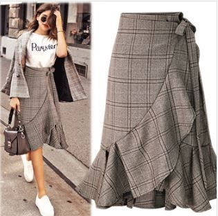 Flared Skirts Glen Patterns Casual Style Long Maxi Skirts
