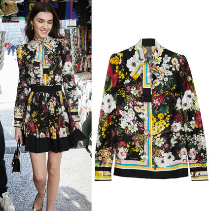 17-18 AW DG 1295 FLORAL PRINTED SILK BLOUSE WITH PUSSY BOW