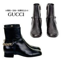GUCCI Chain Plain Leather Elegant Style Chunky Heels