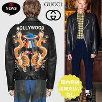 GUCCI Short Plain Leather Biker Jackets