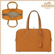 HERMES Victoria Unisex 2WAY Plain Leather Totes