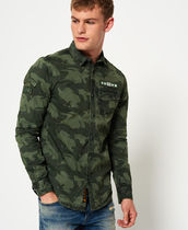 Superdry Button-down Camouflage Street Style Long Sleeves Cotton