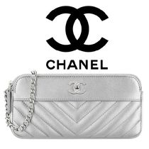 CHANEL Chain Leather Party Style Clutches
