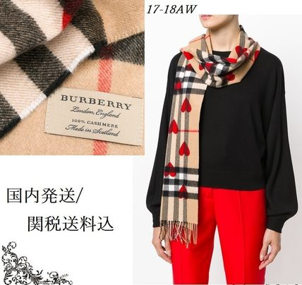 Burberry Heart Casual Style Cashmere Fringes Heavy Scarves & Shawls