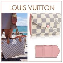 Louis Vuitton DAMIER AZUR Other Check Patterns Canvas Bi-color Folding Wallets