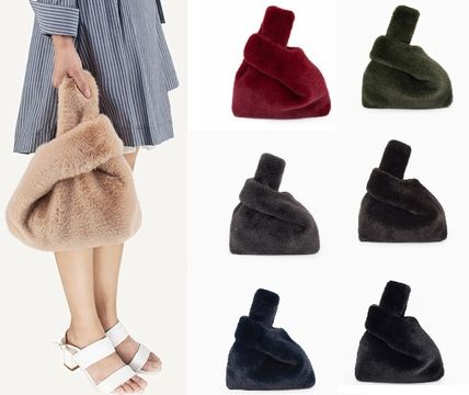 Casual Style Faux Fur Street Style 2WAY Plain Clutches