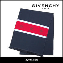 GIVENCHY Stripes Star Wool Street Style Scarves