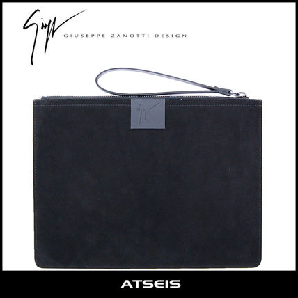 Street Style A4 Plain Leather Clutches