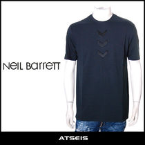 NeIL Barrett Crew Neck Pullovers Street Style Plain Cotton Short Sleeves