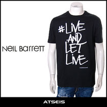 NeIL Barrett Crew Neck Pullovers Street Style Cotton Short Sleeves
