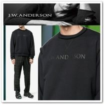 J W ANDERSON Crew Neck Pullovers Long Sleeves Plain Cotton Sweatshirts