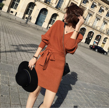 Wrap Dresses Casual Style Street Style V-Neck Long Sleeves