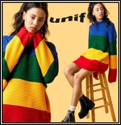 Stripes Casual Style Long Sleeves Long High-Neck Oversized
