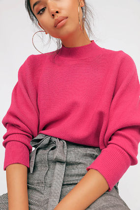 Short Street Style U-Neck Long Sleeves Plain Cropped