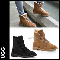 UGG Australia QUINCY Plain Toe Lace-up Casual Style Sheepskin Plain Lace-up Boots