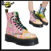 Dr Martens Flower Patterns Round Toe Leather Mid Heel Boots