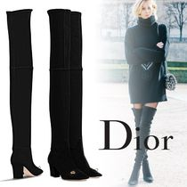 Christian Dior Suede Plain Chunky Heels Over-the-Knee Boots