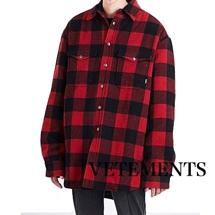 VETEMENTS Glen Patterns Wool Street Style Long Sleeves Plain Shirts