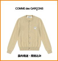 COMME des GARCONS Crew Neck Heart Casual Style Wool Long Sleeves Cardigans