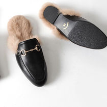 Round Toe Casual Style Faux Fur Plain Sandals