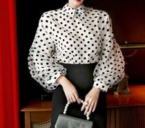 Dots Chiffon Medium Party Style Puff Sleeves