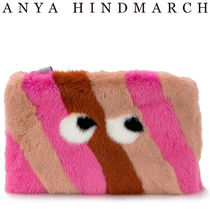 Anya Hindmarch Stripes Unisex Fur Party Style Clutches
