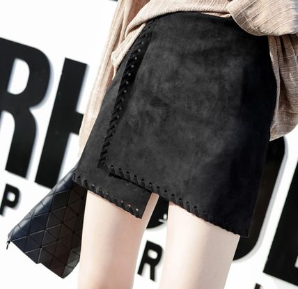 Pencil Skirts Short Casual Style Suede Street Style Plain