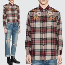 GUCCI 17-18 AW WG 262 CHECKED WOOL SHIRT WITH DRAGON EMBROIDERY