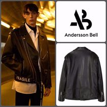 ANDERSSON BELL Unisex Plain Leather Biker Jackets
