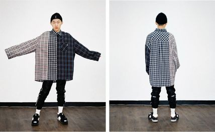 AJO AJOBYAJO Shirts Other Plaid Patterns Unisex Street Style Long Sleeves Cotton 2